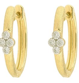 Jude Frances Provence Single Quad Oval Hoop Earrings 18K YG 8 gsi Diamonds 0.06tcw white