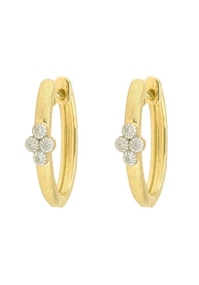 Jude Frances Provence Single Quad Oval Hoop Earrings 18K YG 8 gsi Diamonds 0.06tcw white