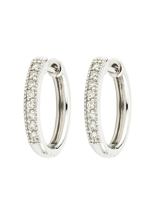 Jude Frances Jude Frances 18K Camelia Hoops Earrings White Gold