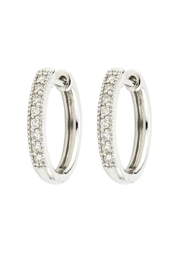 18K Camelia Hoops Earrings White Gold