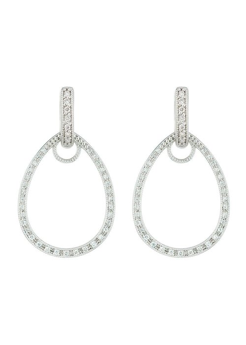 Jude Frances Jude Frances 18K White Gold Classic Pave Tear Drop Charm Frames 66 GSI Diamonds .22 TCW
