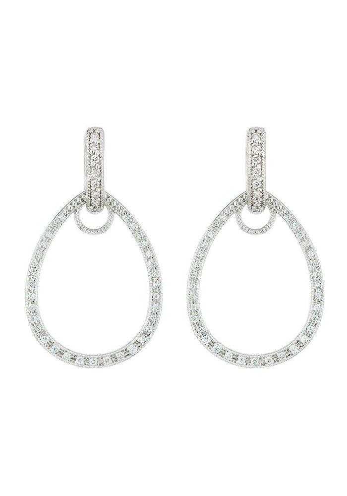 Jude Frances 18K White Gold Classic Pave Tear Drop Charm Frames 66 GSI Diamonds .22 TCW