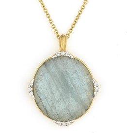 Jude Frances Pendant - Oval faceted labradorite & blue topaz doublet. 18K gold pave diamond .21 TW.