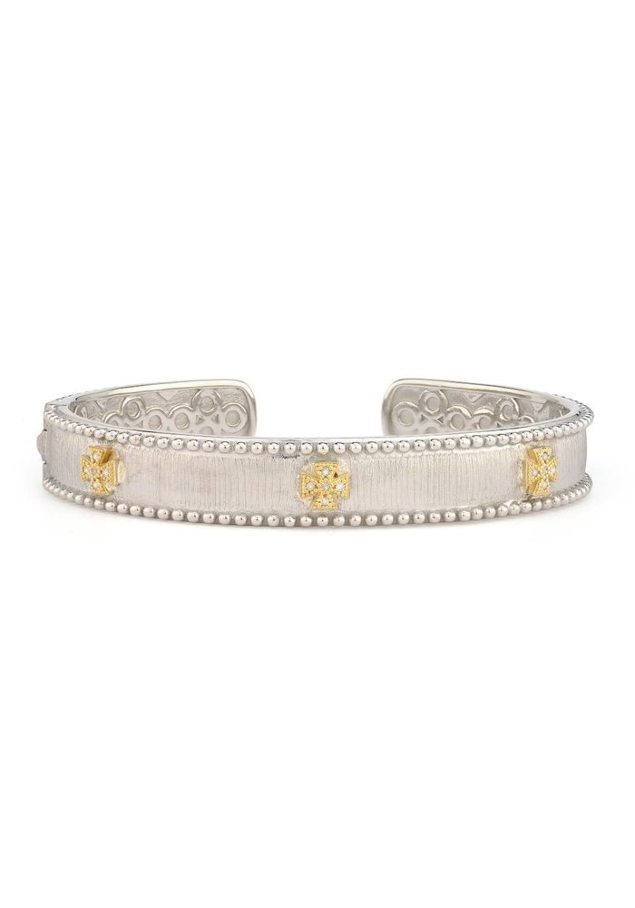 Mixed Metal Narrow Beaded Maltese Cuff w 18KGold accents