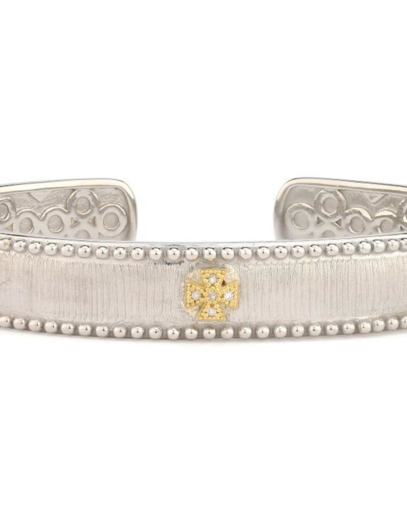 Jude Frances Mixed Metal Narrow Beaded Maltese Cuff w 18KGold accents