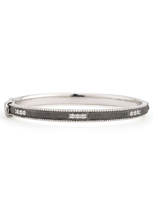 Jude Frances Silver Simple Lisse Bangle w/ White Topaz
