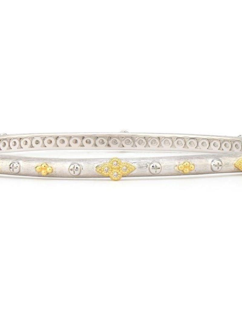 Jude Frances Mixed Metal Alternating Quad Bangle Sterling w/18K Accents