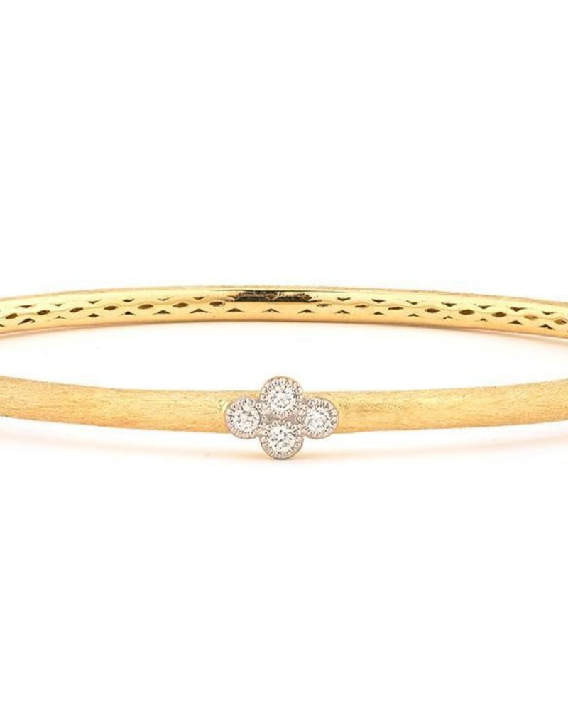 Jude Frances Jude Frances 18K Brushed Provence Bangle w/One Diamond Quad