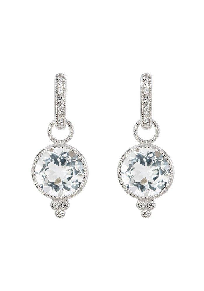 18K White Gold Provence White Topaz Earring Charms
