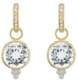 "Jude Frances 18K Yellow Gold ""Provence"" Round Faceted White Topaz Charm Drops W/ 0.03ct Diamonds"