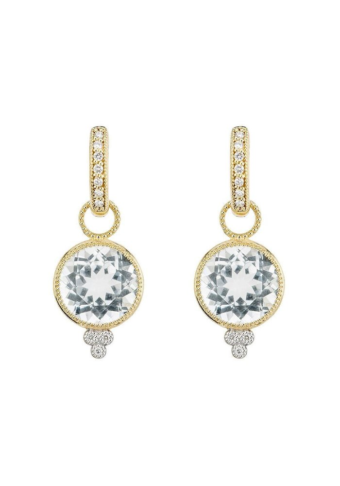 """Jude Frances 18K Yellow Gold """"Provence"""" Round Faceted White Topaz Charm Drops W/ 0.03ct Diamonds"""