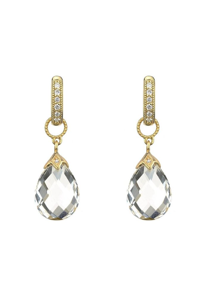Yellow Gold Pear Shape Moonstone Briolette Earring Charm