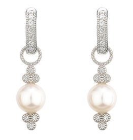 Jude Frances Small Provence Pearl Charms 18K White Gold .03 TWC Diamond