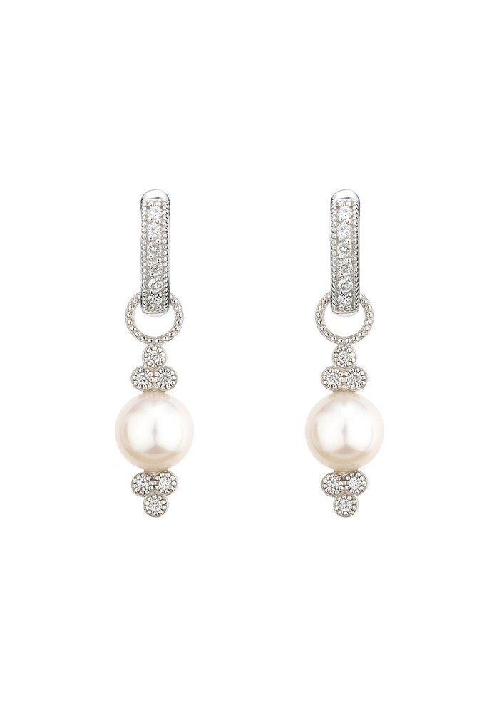 Small Provence Pearl Charms 18K White Gold .03 TWC Diamond
