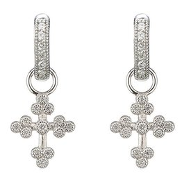 Jude Frances Tiny Provence Cross Charms 18K White Gold, GSI Diamonds .15 TCW