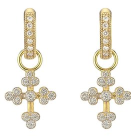 Jude Frances Tiny Provence Cross Charms 18K Gold, GSI Diamonds .15 TCW