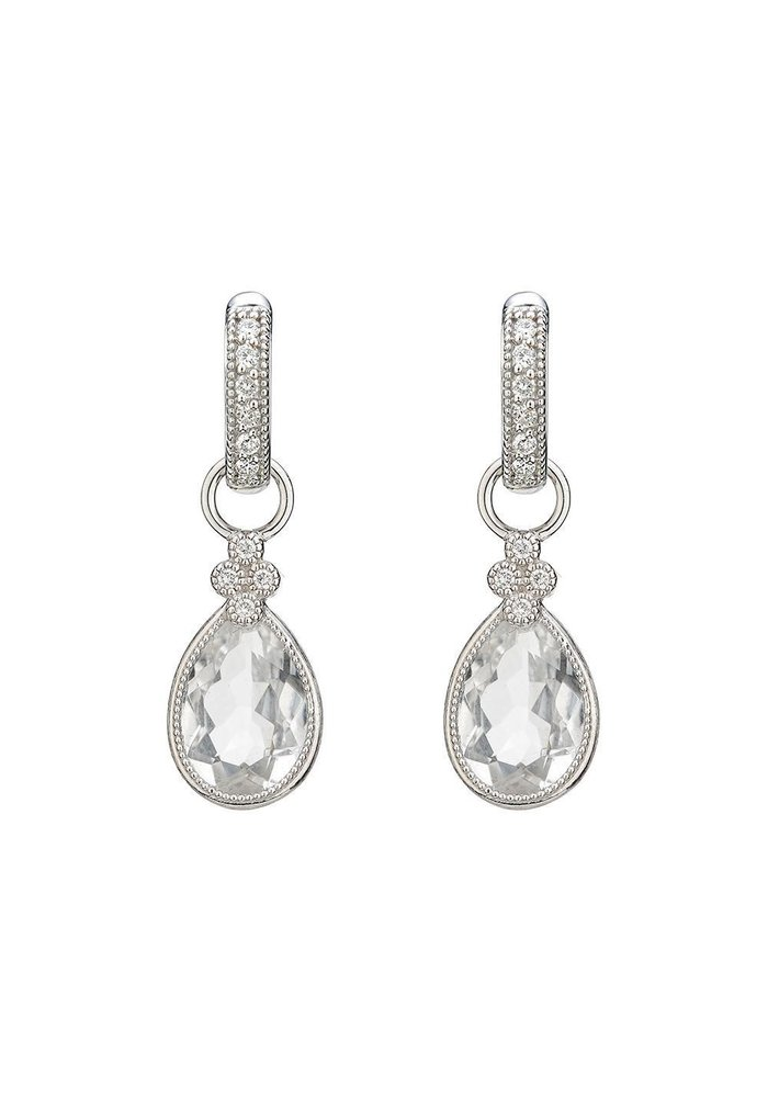 Pear Shaped Faceted White Topaz Provence Charms 18K White Gold, .06 TCW Dia