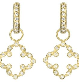 Jude Frances Pave Open Clover Marquis Earring Charm 18k Yellow Gold