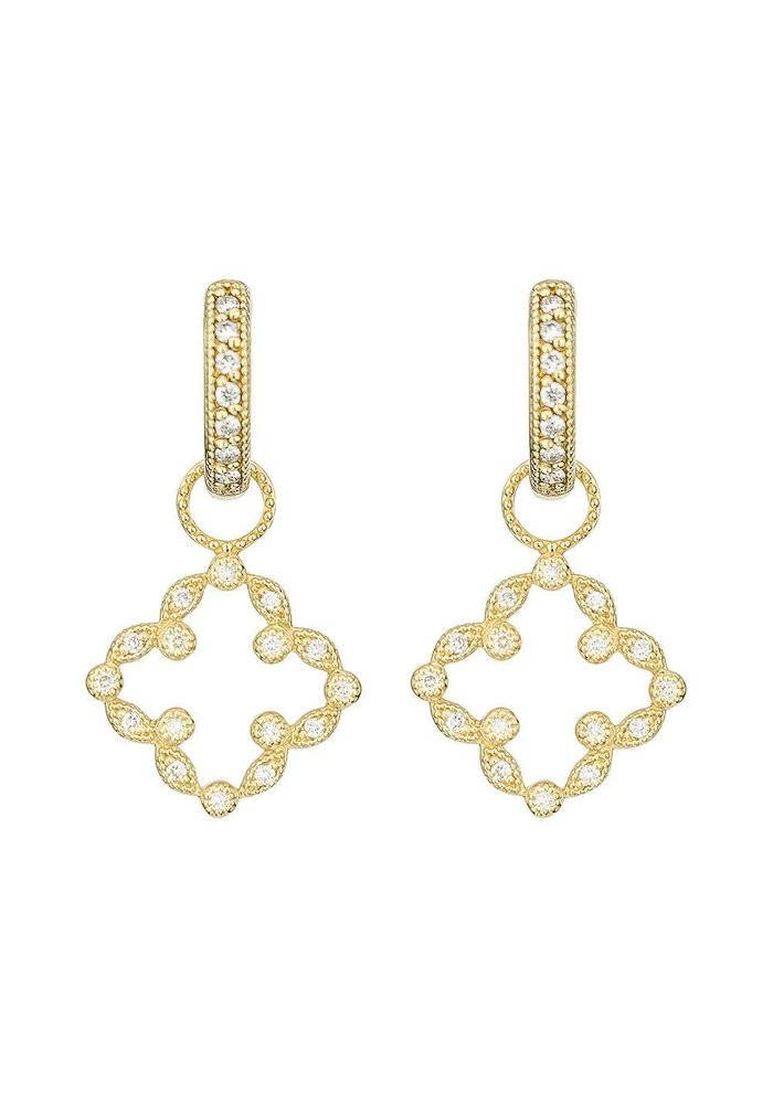 Pave Open Clover Marquis Earring Charm 18k Yellow Gold