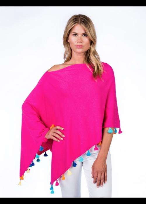 Caroline Grace Cotton/Cashmere Festive Tassel Topper, Malibu Pink, O/S
