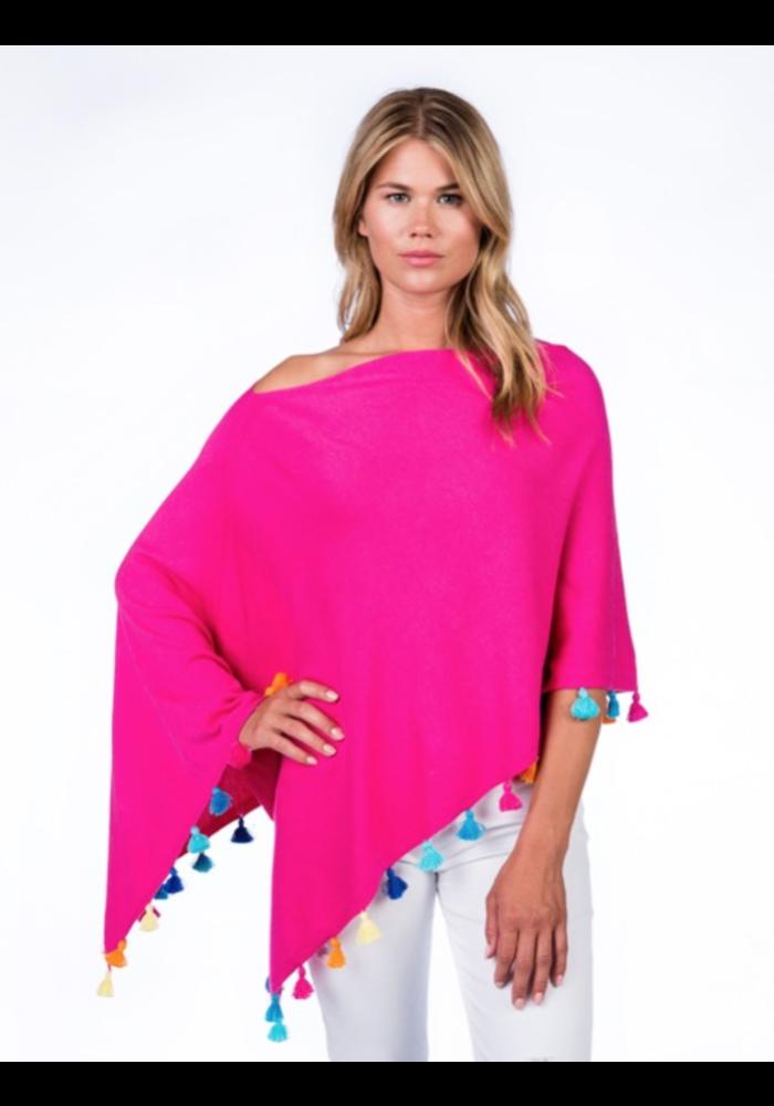 Cotton/Cashmere Festive Tassel Topper, Malibu Pink, O/S