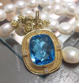 Mazza Swiss Blue Topaz Pendant in 14k Gold with .12 ct Diamonds