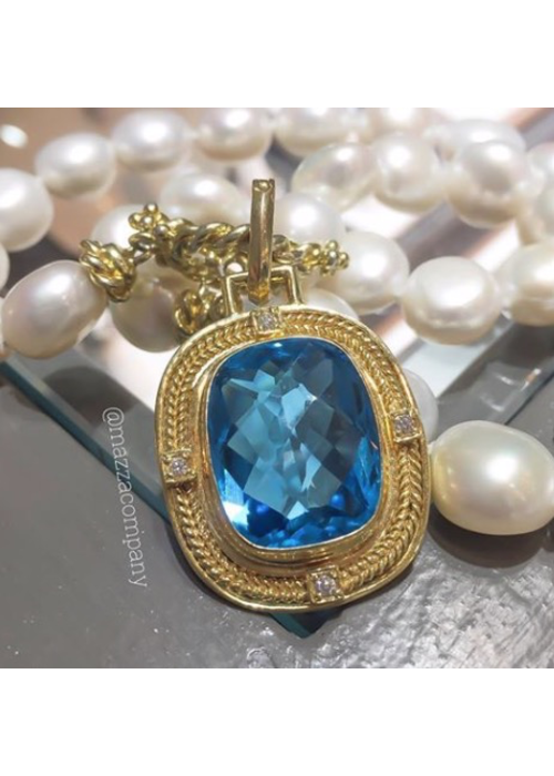Mazza Swiss Blue Topaz Pendant in 14k Gold with .12 ct Diamonds