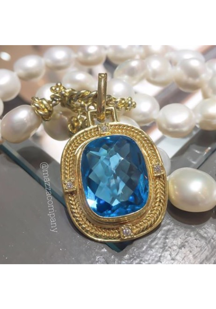 Swiss Blue Topaz Pendant in 14k Gold with .12 ct Diamonds