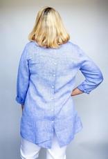 Hinson Wu Collette Indigo Cross Dyed Shirt in Linen