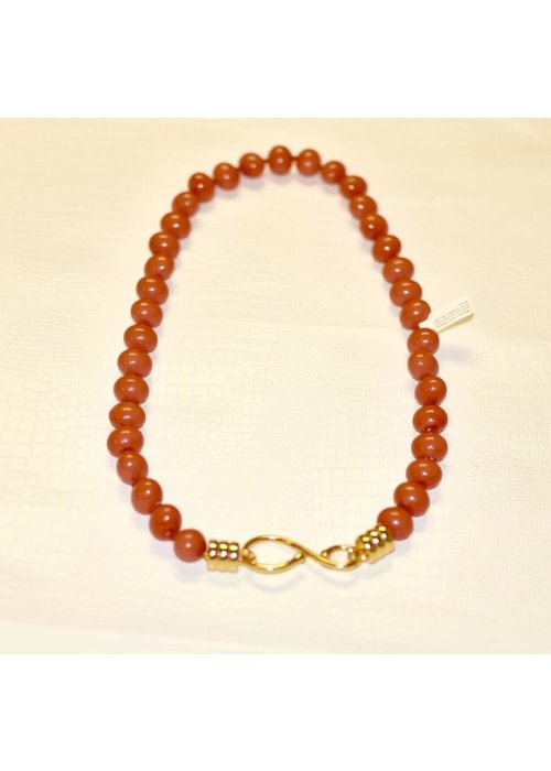 "Catherine Canino Medium Coral Pebble 24"" Necklace handwrought hook, knotted 14K over brass"