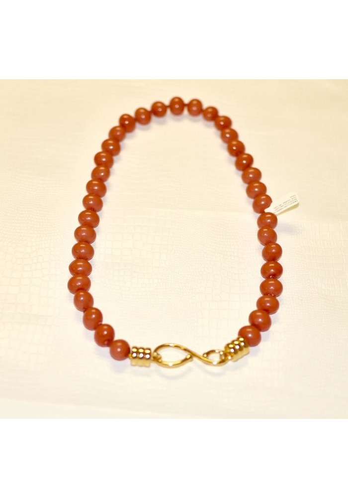 """Medium Coral Pebble 24"""" Necklace handwrought hook, knotted 14K over brass"""