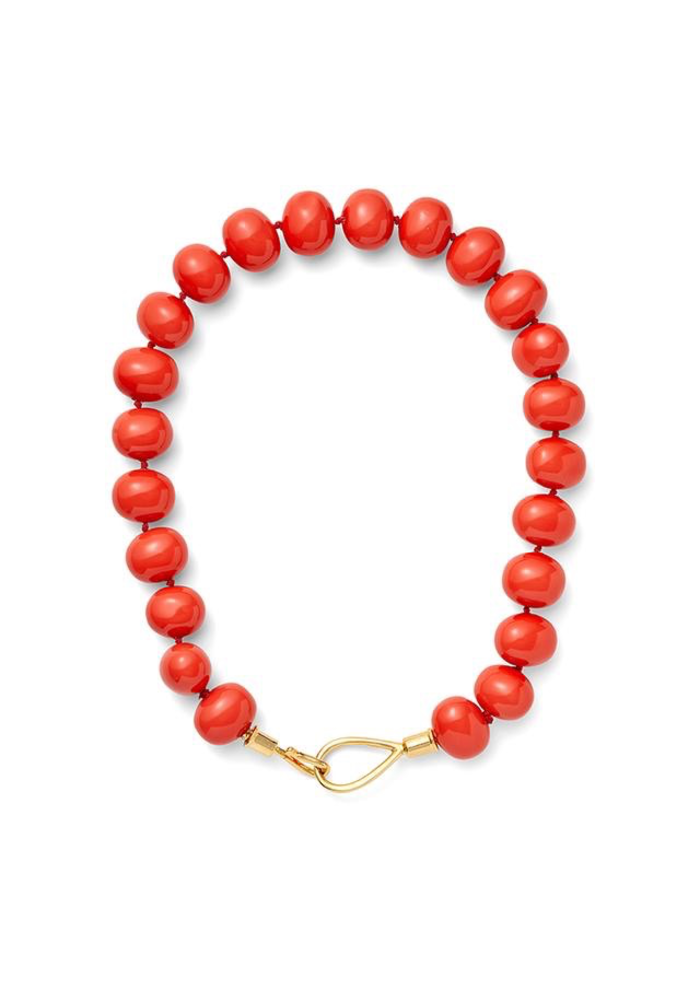 "Large Coral Pebble Lasso and Hook Necklace w/18K over Brass Lasso Clasp, 20""Catherine Canino Lasso and hook with Large, coral lacquered mother of pearl pebbles. Polished 14 karat gold over brass."