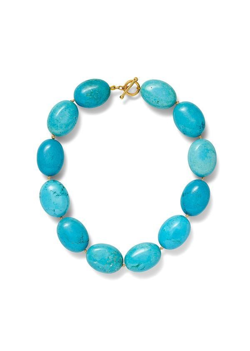 Catherine Canino Reconstructed Turquoise Chunky Nugget Necklace on Hand Knotted Cording
