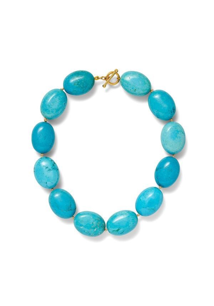 Reconstructed Turquoise Chunky Nugget Necklace on Hand Knotted Cording