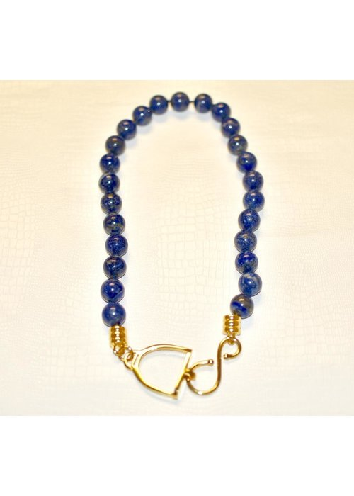"Catherine Canino Hand carved stirrup hook clasp 24"" knotted necklace polished 14k gold over brass. Lapis Lazuli"