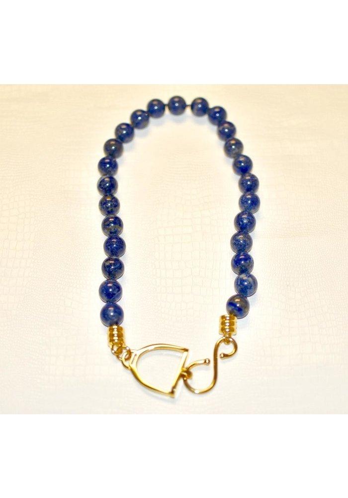 "Hand carved stirrup hook clasp 24"" knotted necklace polished 14k gold over brass. Lapis Lazuli"