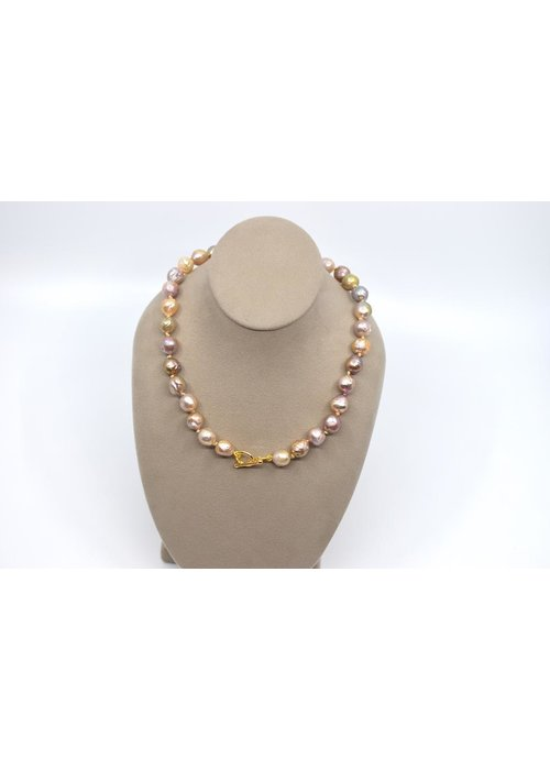 Catherine Canino Baroque freshwater pearl strand hand knotted necklace with toggle and ring clasp