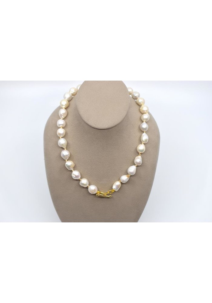 Baroque white freshwater pearl strand hand knotted necklace with toggle and ring clasp