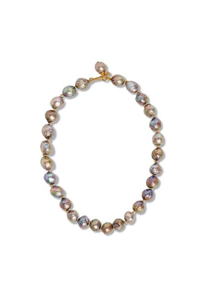 Baroque freshwater pearl strand hand knotted necklace with toggle and ring clasp