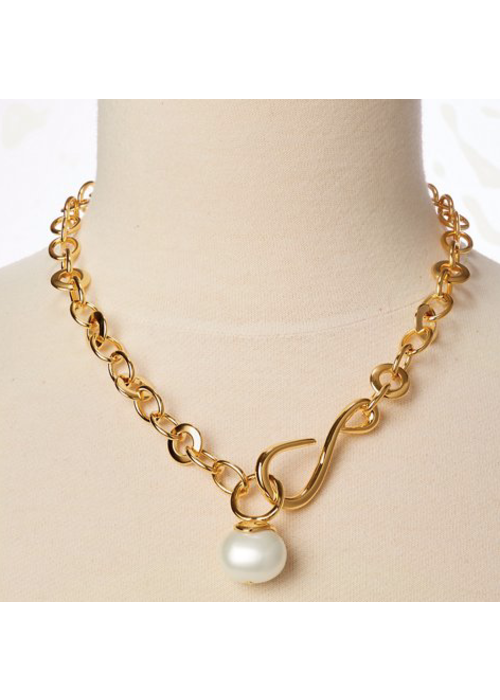 Catherine Canino Oval link large pebble pearl necklace
