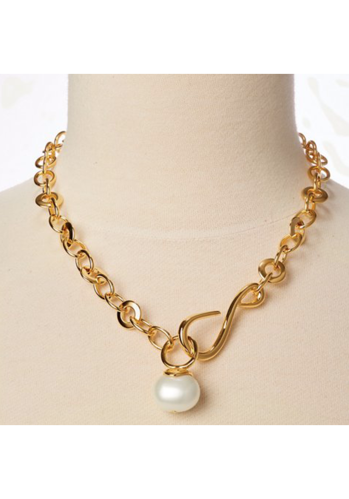 Oval link large pebble pearl necklace