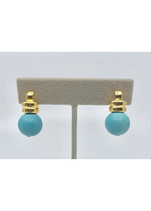Catherine Canino Catherine Canino Ridged Detail Post Scoop Earring in Turquoise