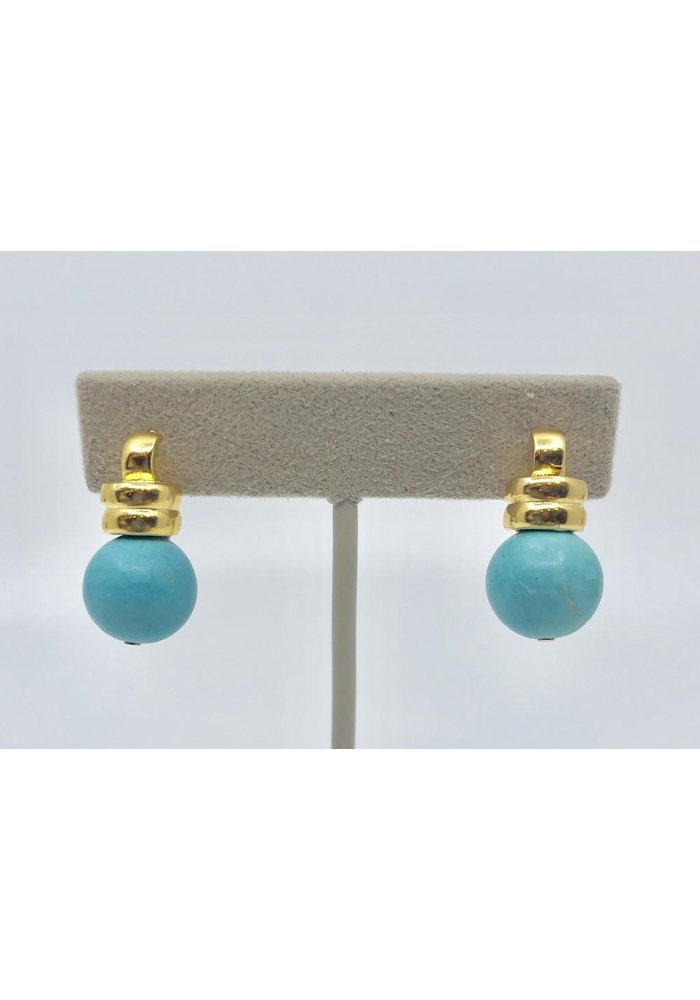 Catherine Canino Ridged Detail Post Scoop Earring in Turquoise