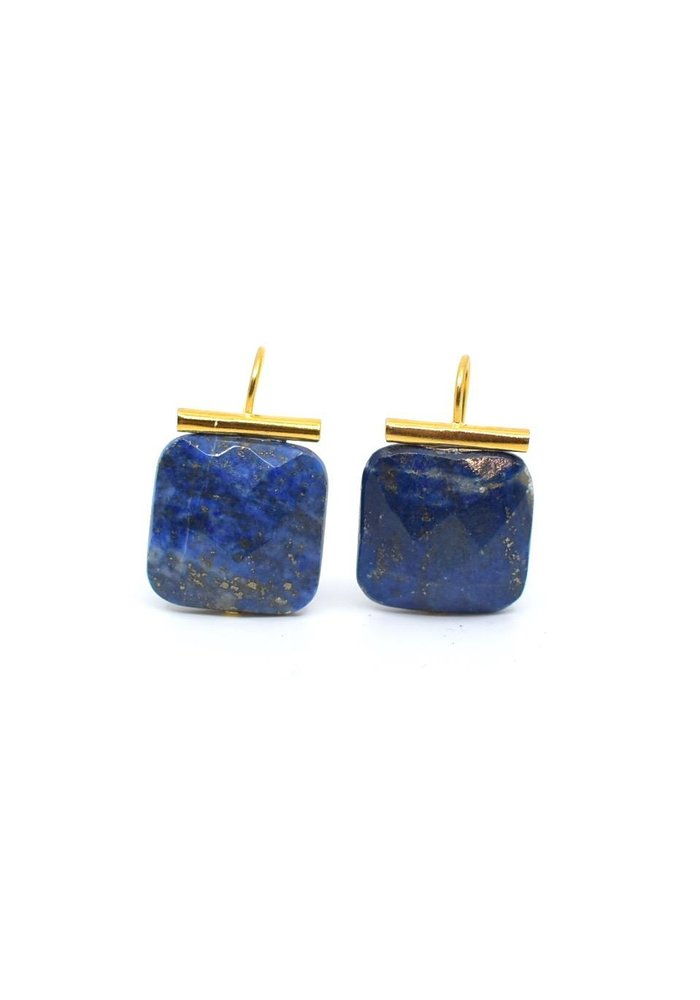 Catherine Canino 14KGP/Brass Wire Earring w/Faceted Lapis Lozenge