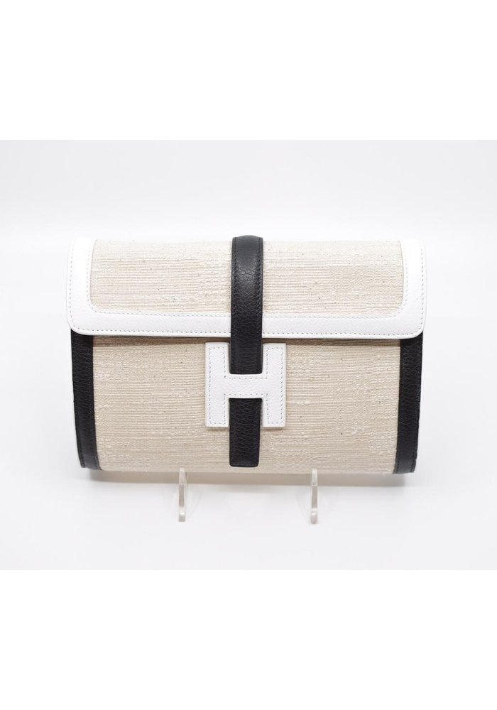 Linen with White and Black Trim Med. Canvas Bag
