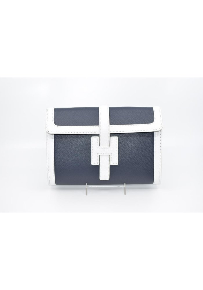 Clutch bag in Navy and White