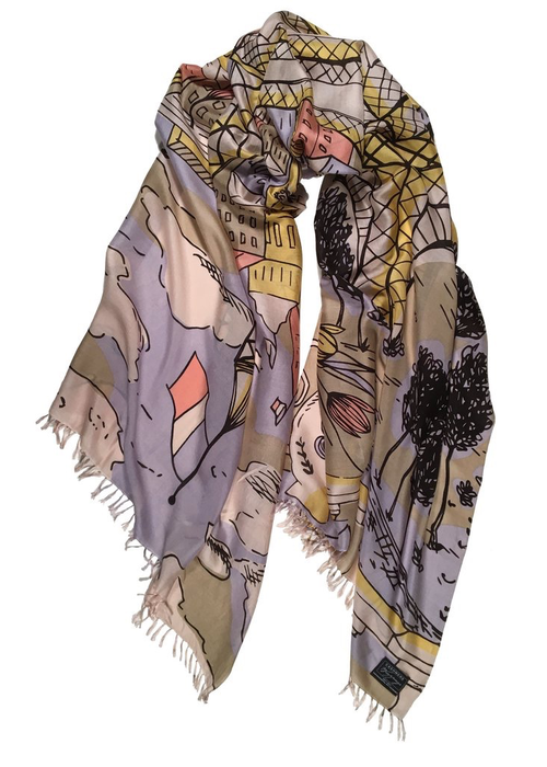 "Cashmere Wrappings Cashmere Wrappings Scarf ""Eiffel Tower"" - Brights"