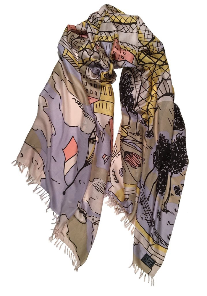 "Cashmere Wrappings Scarf ""Eiffel Tower"" - Brights"