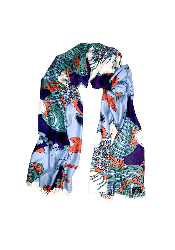 "Cashmere Wrappings 100% Silk Scarf ""Fiore"" -Blues"