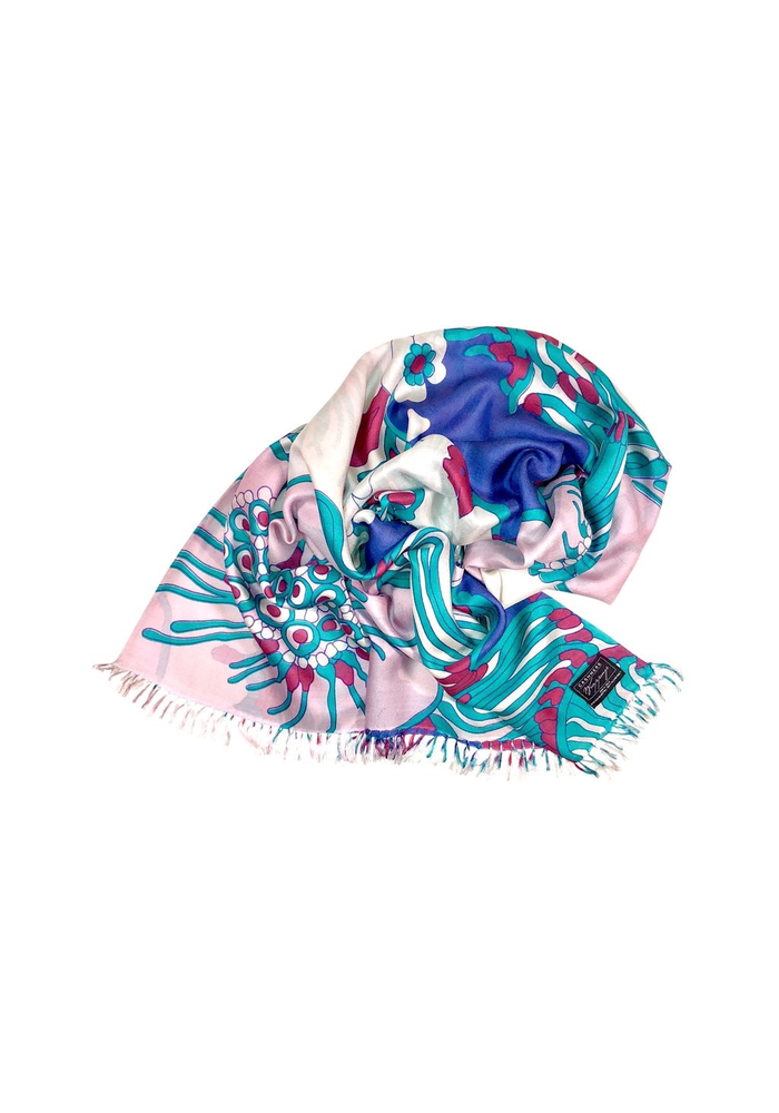 """Cashmere Wrappings 100% Silk Scarf """"Fiore"""" -Pinks"""